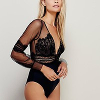 SKIVVIES by For Love & Lemons Womens Alexa Bodysuit