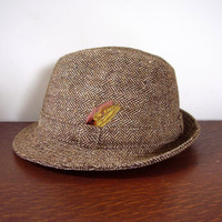 Vintage Men's Tweed Fedora Hat Donegal Ireland Michael O'Boyle