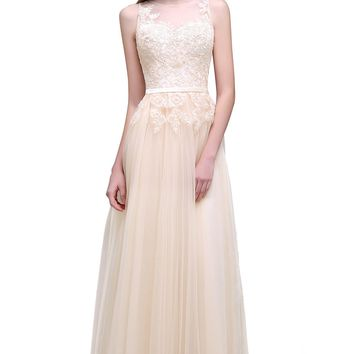 A Line Sheer Neck Elegant Lace Tulle Wedding Dresses Bridal Gown 4 Styles Long Wedding Dress