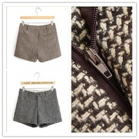 Women : Houndstooth wool pantsbootcut Boots pants shorts fashion final clearance ghl0189