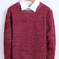 Heathered Knitted Pullover Sweater