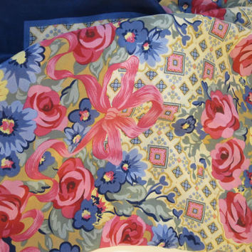 Vintage Navy Pink Floral Silk Scarf w/ Roses and Bows Printed Silk Scarf Navy Border Floral Square Center Geometric Print Border 34 inch