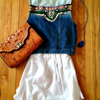 Gypsy Tribal Denim Vest Kuchi Vintage Beaded Patchwork Bleach Dipped Dyed Jean jacket Festival Boho Cochella Free People OOAK S