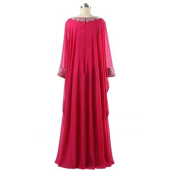 Pink Long Sleeve Chiffon Evening Dresses Formal Evening Dress Floor Length