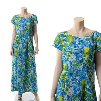 Vintage 60s 70s Hawaiian Waterfall Dress 1960s 1970s Polynesian Tiki Festival Beach Graphic Hawaii Luau Gown