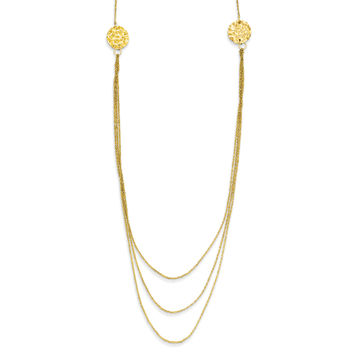 14K 3 Layer Ropa Chain Texture Side Circles W/ 2in Ext Necklace SF2013