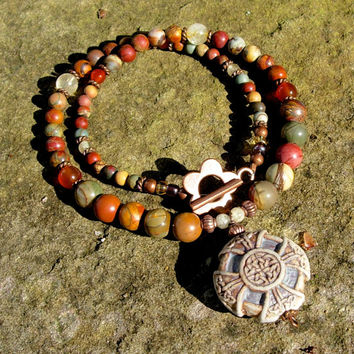 BoHo Necklace, Hippie Style Celtic Cross Pendant on a Gemstone, Citrine, Carnelian, and Jasper  Beaded Choker Yoga Hindi Meditation Jewelry