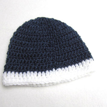 Crochet Navy Blue with White Anchor Baby Cap, Navy with White Trim Anchor Beanie MADE TO ORDER