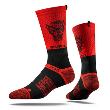 Strideline® 2.0 Red Wolf Split, North Carolina State Red–Black Crew Socks