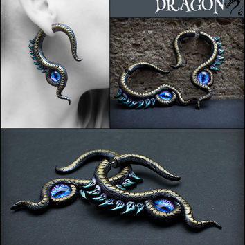 Dragon fake gauges Gauge plug earrings Dragon eye earrings Fantasy clay jewelry Fake ear plug Tentacle gauges Steampunk dragon 0g 00g 2g