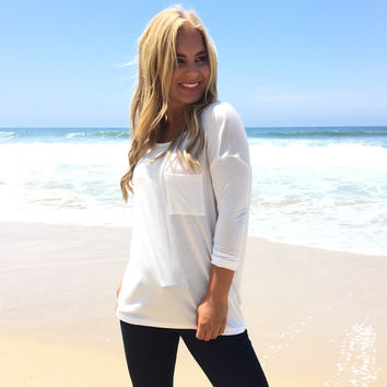 Simply Loving You Pocket Tee In White