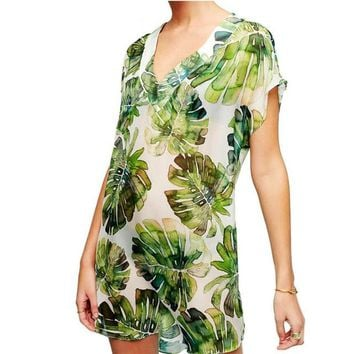 Cover ups Bikini Beach Cover-Up Print Chiffon Bikini Kaftan Pareo Sarongs Swimwear Tunic Swimsuit Bathing Suit  Robe De Plage #Q278 KO_13_1