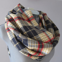 Plaid Navy Cream Red Flannel Infinity Scarf
