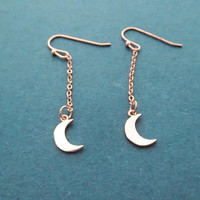 Crescent, Moon, Gold, Silver, Rose gold, Chain, Earrings, Birthday, Best friends, Sister, Gift, Jewelry