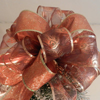 Large Sheer Gold and Bronze metallic Peacock  Ribbon and Bronze glitter ribbon Christmas Tree topper bow and 12 ornament bows