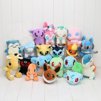 12-17cm eevee Plush Doll Toy Charmander Eevee Bulbasaur Dragonite Snorlax Lucario Cyndaquil  Figure Toy Gift
