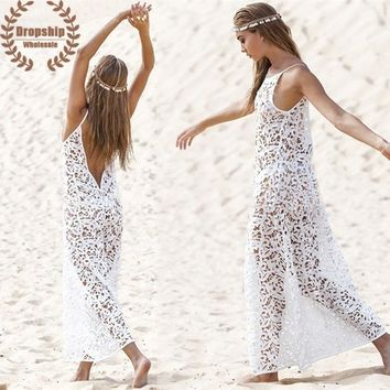HOT White Embroider Bikini Cover Up SEXY Women Lace Beach Tunic Graceful Sweet See-through Dress Swimsuit Cover-up Beachwear
