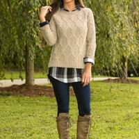 Filled With Gratitude Sweater-Taupe
