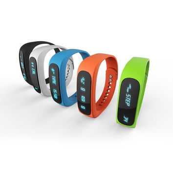 Free DHL E02 Sport bluetooth bracelet smart watch healthy Silicone Whearistband Time Caller ID alarm Pedometer Sleep Monitor