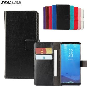 ZEALLION For Samsung Galaxy S8 S7 S6 S5 S4 S3 Edge Plus J1 J3 J5 J7 A3 A5 2016 2017 Case Holster Flip Crazy-Horse Leather Cover