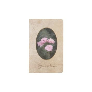 Vintage design. Photo of pink roses. Add your text Pocket Moleskine Notebook