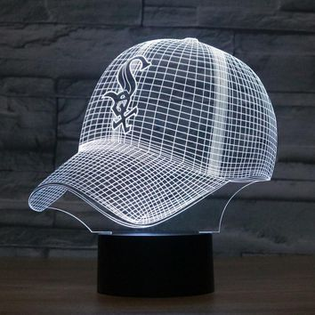 Fashion LED 3D Illusion Night Light Chicago White Sox Baseball Team Cap 7 Color American Baseball Hat Decor Bulb USB lamp