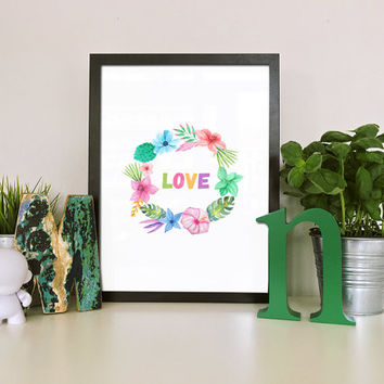Flower wall art, Instant download printable art, Flower art print, Flower artwork, Colorful art print, Floral wreath print, Love wall decor