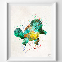 Squirtle Print, Watercolor, Pokemon Poster, Animation, Art, Pokemon Decor, Baby Room, Nursery Art, Giclee Wall Art, Fathers Day Gift