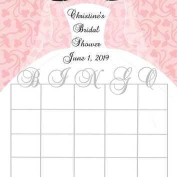 10 Pink Bridal Shower Bingo Cards