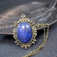 Long Chain Lapis Necklace in Bronze - Genuine Afghanistan Lapis Lazuli - Lapis Jewelry - Chunky Lapis Pendant - September Birstone