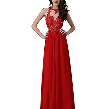 Women Red Illusion Sleeveless Open Back Formal Prom Gown With Lace Appliques Bodice