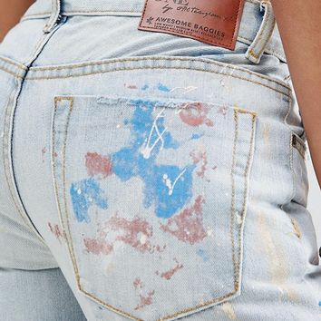 One Teaspoon Awesome Baggies Straight Jean with Paint Splatter and Ripped Knee at asos.com