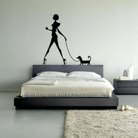 Wall Vinyl Sticker Decals Decor Art Bedroom Design Mural Wall Decal Girl with Dog (z255)