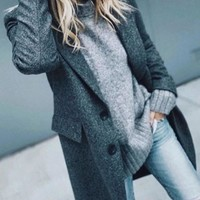 New Grey Pockets Buttons Turndown Collar Long Sleeve Wool Coat
