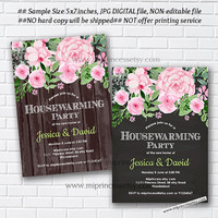 housewarming invitation, wood, rustic invites, New house , shabby chic, housewarming bbq, Invitation Card | We have moved - card 1017
