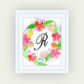 Printable monogram letter, R, watercolor floral wall art, baby boy girl Name initial, print custom, personal letters, Nursery decor, digital
