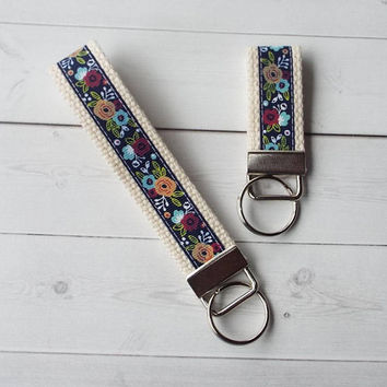 floral Key FOB / KeyChain / Wristlet  - flowers keychain floral keychain on natural webbing friends teacher bridemaids gifts under 10