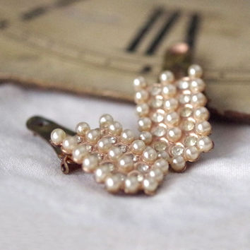 Vintage Shoe Clips Rhinestone and Pearl