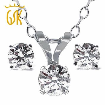 14KT White Gold Pendant & Earrings Necklace Set  0.65 Ct Natural Diamond Jewelry Sets