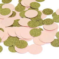 pink and gold circle confetti, baby shower decorations, childrens birthday, princess party, bridal shower, 100 pcs