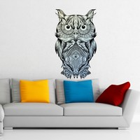 MADE IN THE USA - Wall Decal Colorful Multicolored Owl Sticker Bird Vinyl Decal Tattoo Mandala Decorations D119