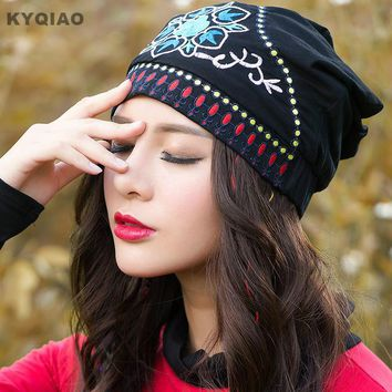 KYQIAO Ethnic skullies beanies women autumn spring Mexican style hippie black blue red floral embroidery hat beanies
