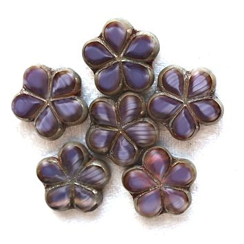 Lot of five 17mm table cut, carved, marbled opaque amethyst, purple Czech glass Flower beads with a metallic sliver picasso finish 53105