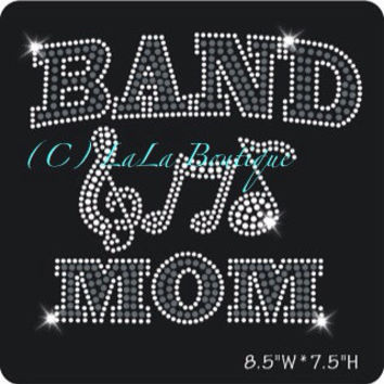 Band mom - spirit transfer -iron on Rhinestone Transfer Bling Hot Fix Bling -  DIY hotfix applique motif for shirts t-shirts tees custom