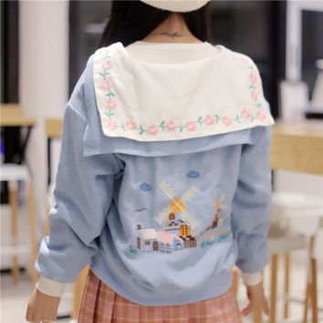 2017 Women's Harajuku Childlike Embroidery Navy Wind Thick Cotton Jacket Female Cute Japanese Kawaii Bomber Coat For Women