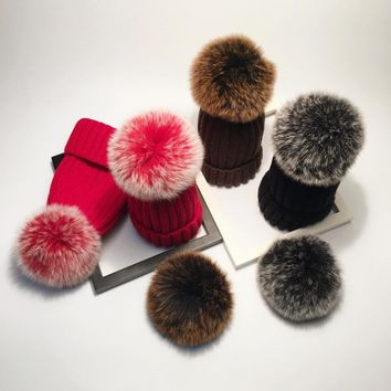 Fashion Winter Fox Fur Pompoms Cashmere Skullies & Beanies Knitted Wool Hat Natural Fur Ball Cap Female Red Warm Cap for Adult