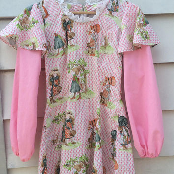 Vintage PINK cotton 1970s mini dress for the daring and or top holly hobbie doll print rare cool