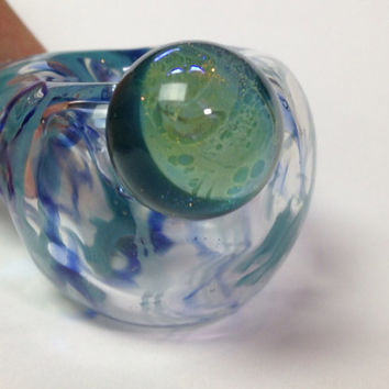 Glass pipe- teal and cobalt, wrap and rake with waxing moon marble