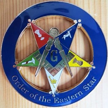 ORDER OF EASTERN STAR Square & Compass Car Emblem