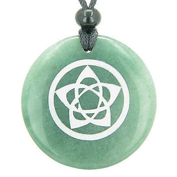 Flower of Life Wiccan Pentacle Star Amulet Green Aventurine Magic Gemstone Circl